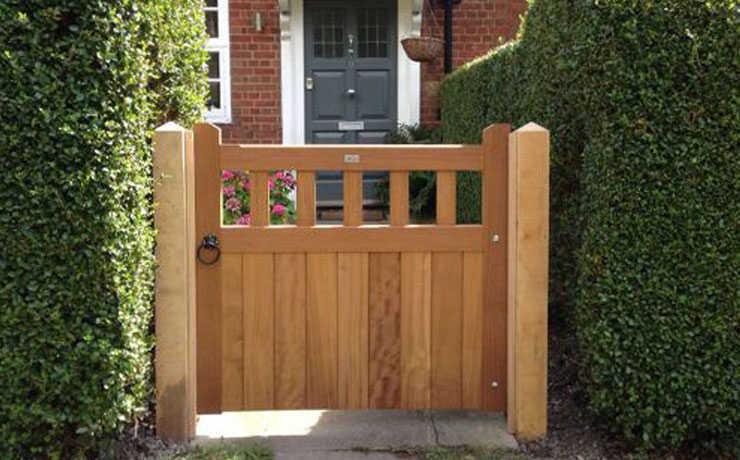 Iroko pedestrian gate with European Oak posts