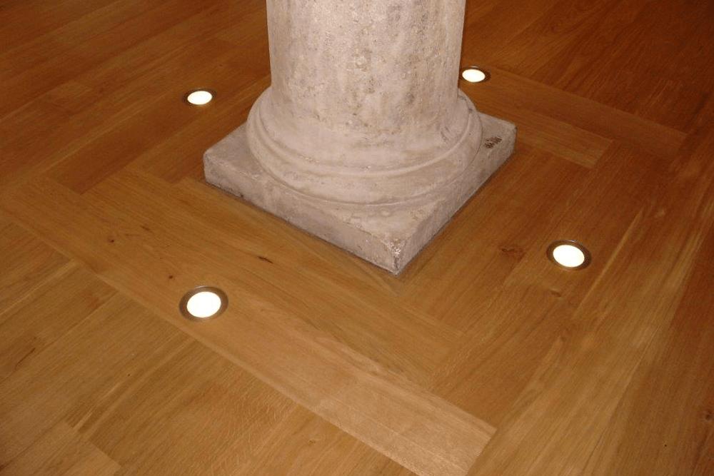 Recessed lights in floor